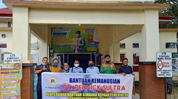 Di Tengah Pandemi, PT Pernick Sultra Kembali Menyerahkan 300 Paket Sembako Kepada Masyarakat